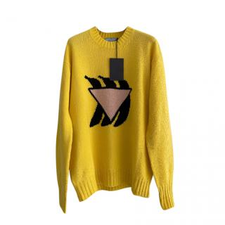 Prada Yellow Intarsia Knit Virgin Wool & Cashmere Jumper