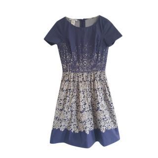 Oscar De La Renta Blue & White Lace Print Dress