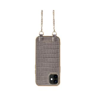 Aspinal Taupe Croc Embossed iPhone 12 Mini Case with Chain Strap