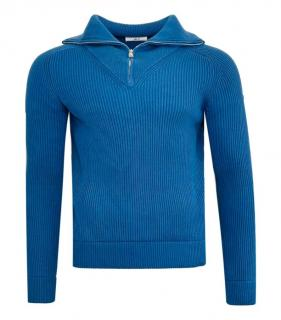 Mr P Blue Ribbed Knit Half Zip Jumper