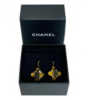 Chanel Vintage Gripoix Cross Earrings