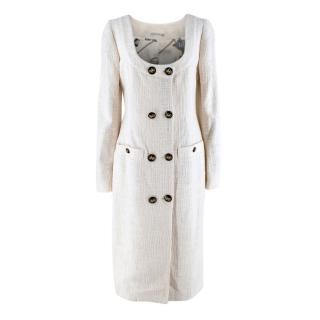 Alessandra Rich Ivory Cotton Tweed Double-Breasted Midi Dress