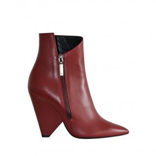 Saint Laurent Red Niki Asymmetric Leather Ankle Boots
