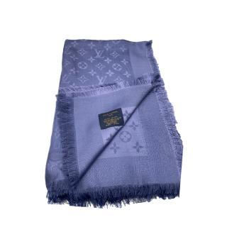 Louis Vuitton Blue Wool & Silk Shawl