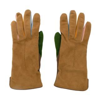 Leo Rosa Colourblock Cashmere Lined Suede Gloves Size 7