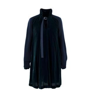 Sacai Teal Velvet Navy Knit Tie Neck Swing Mini Dress