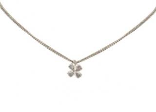 Chanel 4 Leaf Clover Pendant Silver Tone Necklace