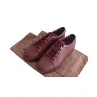 Bottega Veneta Burgundy Leather Sneakers