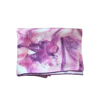 Alexander McQueen Pink Floral McQ Print Silk Scarf