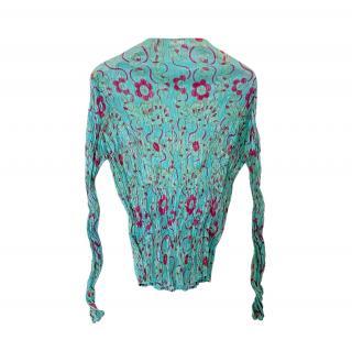 Issey Miyake Pleats Please turquoise printed top
