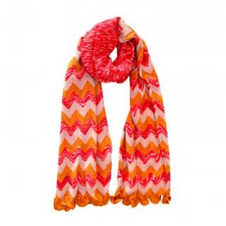 Missoni Pink & Orang Lurex Knit Zig Zag Scarf