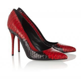 Alexander McQueen Black & Red Python Pumps