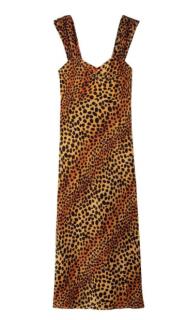 Rixo Astrid Ombre Leopard Print Silk Midi Slip Dress