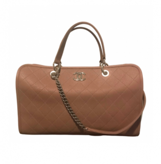 Chanel Antique Rose Quilted Caviar Leather Boston Bag