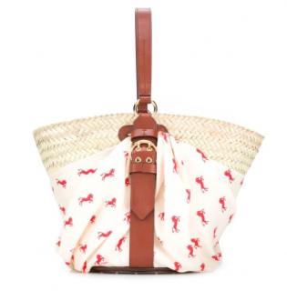 Chloe White Multi Panier Medium Raffia Basket Bag