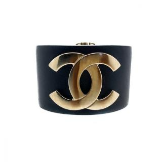 Chanel Black Leather Brushed Gold Tone CC Cuff