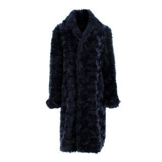 Burberry Prorsum Dark Navy Faux-Shearling Single Breast Teddy Coat