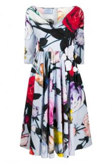 Prada Pale Blue Rose Print Cotton Poplin Midi Dress
