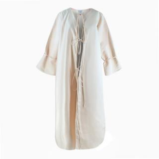 IAMMAI Oyster Pink Round Neck Tie Front Evening Coat