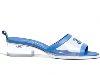 Chanel Sold Out Coco Beach Transparent Blue PVC & Lambskin Mules