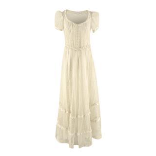 LoveShackFancy Yellow Broderie Anglaise Organdy Prairie Maxi Dress