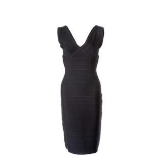 Herve Leger Black Sarai Sleeveless Bandage Dress