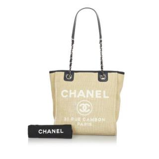 Chanel Deauville Canvas Tote Bag