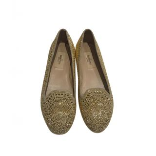 Valentino Garavani Gold Studded Flat Loafers
