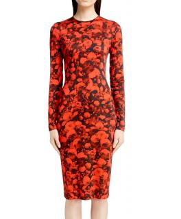 Givenchy Red Rose-Photos Print Fitted Dress