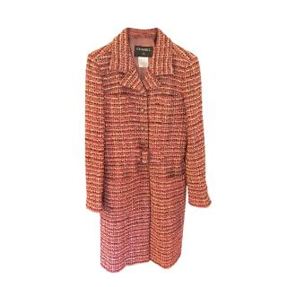 Chanel Pink Tweed Belted Tailored Coat