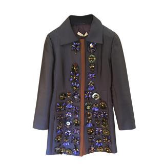 Prada Blue Crystal Embellished Wool & Silk Coat