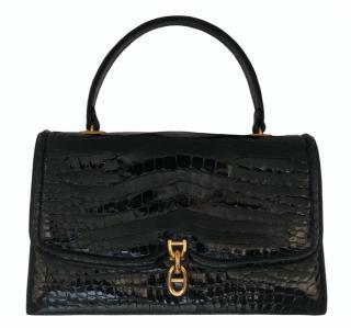 Hermes Black Lisse Crocodile Chaine d'Ancre Vintage Bag