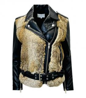 Sandro Rabbit Fur Panelled Leather Biker Jacket