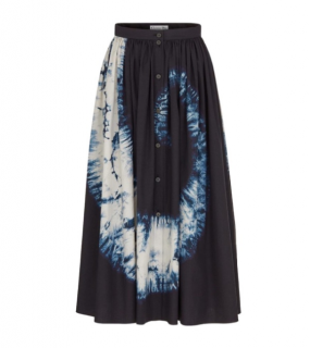 Dior Blue Tie-Dye Button Down Midi Skirt