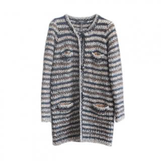 Isabel Marant Wool & Mohair Striped Knit Long Cardigan