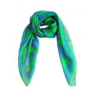 Alexander McQueen Green Silk Skull Scarf