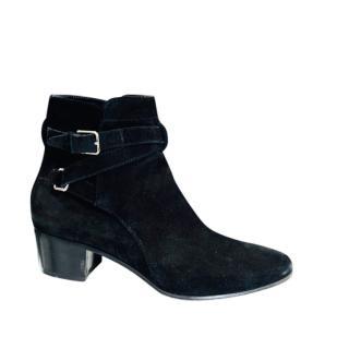 Saint Laurent Black Suede Ankle Boots