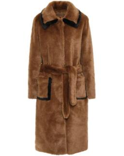 Sandro Faux Fur Belted Trench Coat