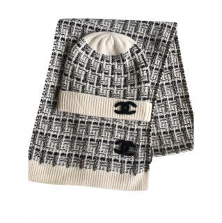 Chanel Lurex Knit Mohair & Cashmere Knit Scarf & Hat