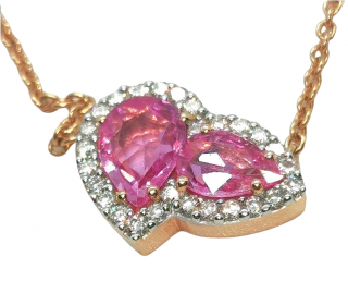 William & Son pink sapphire and diamond pendant and gold chain