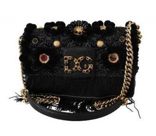 Dolce & Gabbana Black Iguana Embossed/Crochet Millenials Shoulder Bag