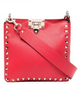 Valentino Red Pebbled Leather Rockstud Crossbody Bag