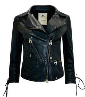 Bally Black Leather Asymmetric Biker Jacket