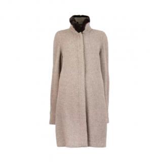Loro Piana Taupe Cashmere Boucle Knit Coat