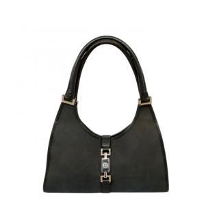 Gucci Black Leather Trimmed Vintage Canvas Jackie Bag
