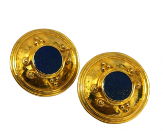 Bespoke 18ct Yellow Gold Lapis Lazuli Clip-On Earrings