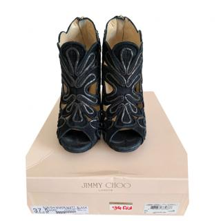 Jimmy Choo Kalipso Black Suede Cutout Sandals