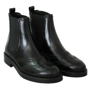 Dolce & Gabbana Black Brogue Style Ankle Boots