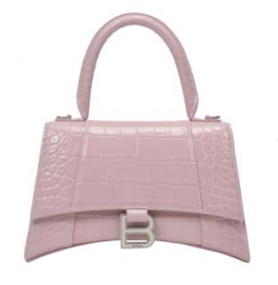 Balenciaga Pink Croc Embossed Small Hourglass Top Handle Bag