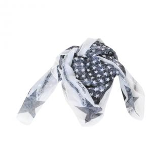 Max Mara Black & White Star Print Silk Scarf